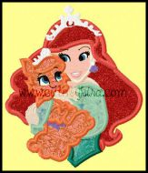 Mermaid Princess with Cat Applique Embroidery Design