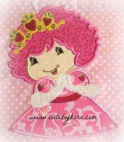 Strawberry Girl with Crown Applique Embroidery Design