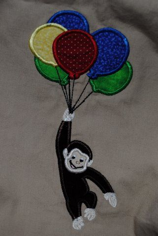 Monkey with Balloons Applique Embroidery Design