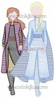 Frozen Elsa and Anna Sketch Embroidery Design