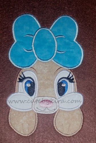 Bunny with Bow Applique Embroidery Design