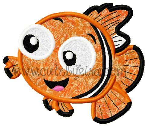 Baby Fish Applique Embroidery Design Cute By Kira