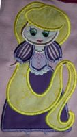 Petite Princess Rapunzel Applique Embroidery Design