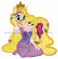 Rapunzel with Pet Horse Applique Embroidery Design