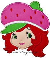Strawberry Girl Head Applique Embroidery Design
