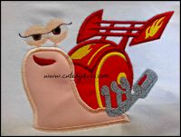 Fast Snail Girl Applique Embroidery Design