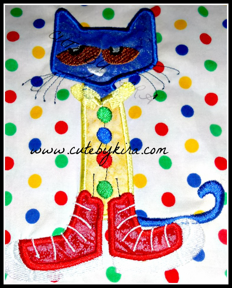 Petey Cat Applique Embroidery Design Cute By Kira