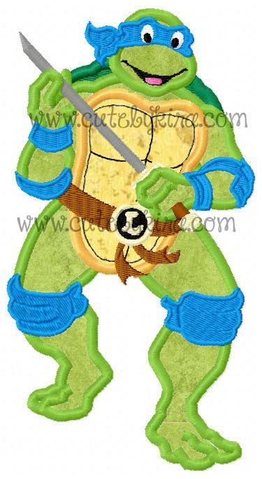Turtle Teen Blue Guy Applique Embroidery Design Cute By Kira